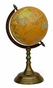 "Brass 16"" world globe & map on aluminum stand home office desk antique decor"
