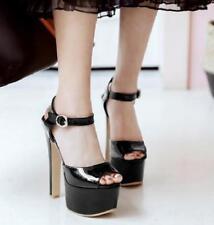 Women High Heel Ankle Strap Heels Platform Pumps Sexy Peep Toe Prom Sandal Black