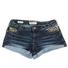 Hot Kiss Cici Denim Blue Jean Stretch Shorts Cheetah Prints Pockets 5 Womens