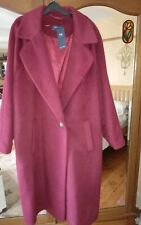 BNWT M&S COLLECTION WOOL BLEND LONG COAT SIZE 22 WOMEN'S PLUM PINK RRP £89 NEW