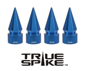 4 TRUE SPIKE BLUE SPIKED TPMS WHEEL AIR VALVE STEM COVER CAP FOR CHEVY SILVERADO