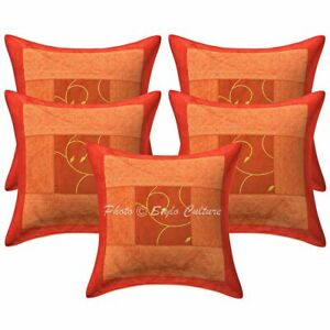 Polydupion Silk Embroidered Brocade Patchwork Pillow Cases Indian Cushion Covers