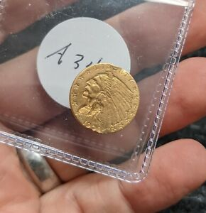 1909 US $2.50 GOLD INDIAN GOLD COIN -#A342