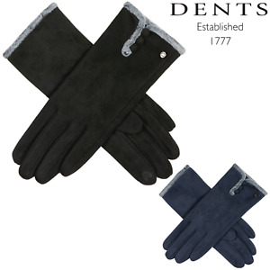 Women's Soft Feel Touchscreen Gloves with Faux Fur and Button Trim
