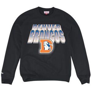 """Denver Broncos Mitchell & Ness NFL """"Block & Blur"""" Crew Sweatshirt - Black"""