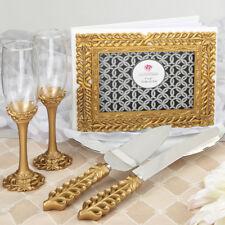 GOLD LATTICE BOTANICAL SET GUEST BOOK TOASTING FLUTES WEDDING CAKE SERVER
