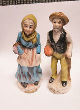 Vintage Pair of Hand Painted Ornate Porcelain Old Man & Woman Farmer Figurines