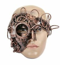 Burning Man Half Mask Steampunk Gear Halloween Costume Masquerade Mask-Copper
