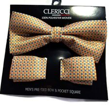 MENS BOW TIE GEOMETRIC YELLOW TIE POCKET SQUARE PRE-TIED BOW ADJUSTABLE CLIP