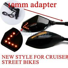 M8 10mm Motorcycle Intergrated Turn Signal LED Mirrors For Honda Kawasaki SuzukI