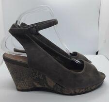 Footglove Light Brown Suede Slingback Shoes Size 5.5 Snake Print Wedge Peep Toe
