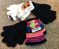 Girls Black Pink Stripes White Joe Boxer Texting Gloves 4 Pair