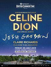 """Celine Dion / Josh Groban """"2019 London,Uk Concert Tour Poster-Pop, Chanson Music"""