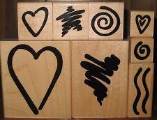 JRL Design Rubber Stamp Set of 8 Bodacious Bolds Heart Spiral Star Wood Mount