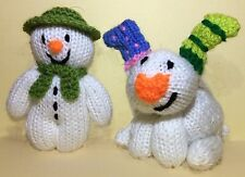 KNITTING PATTERN -The Snowman and Snowdog Christmas tree decoration / 12cms toy