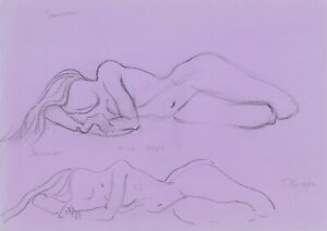 original drawing A4 111MT art samovar modern Graphite sketch female nude Signed