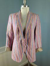 AKRIS punto Pink blue Brown Stripe Blazer Jacket S 6 Career Casual Linen $1460