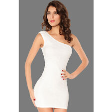 Rose Pattern Single Shoulder Mini Dress White