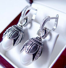 SALE ! GORGEOUS MADE OF STERLING SILVER 925  EARRINGS w/ WHITE PEARL and ENAMEL