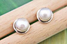 Ohrstecker Ohrringe Silber 925 Sterlingsilber Perle weiß
