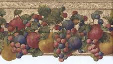 Die-Cut Colorful Apples, Plum, Pear, Grape Distressed Wallpaper Border FF51003DB