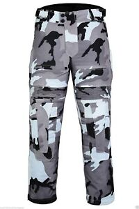 BUSA Bikers Gear Grey Camo CE Armour Motorcycle Remove Waterproof Liner Trousers
