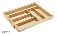 Expandable Wooden Cutlery Tray Insert Adjustable Beech Kitchen Drawers Organiser