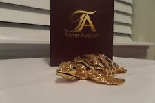 Gold Turtle Trinket Box By Taylor Avedon Crystal Accented Enameled NEW