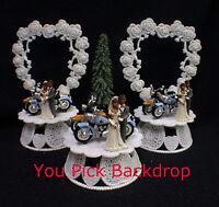 Wedding Cake Topper w/2 Harley Hogs Davidson Motorcycles African-American black