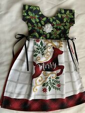 Christmas Red Plaid Kitchen Oven Door Hand Towel Dress Apron Deer Holly Cotton N