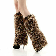 Ladys Leopard leg warmer faux fur dancing shoes cover cloth socks 40cm
