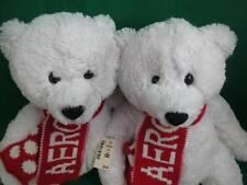New Pair Of White Red Aero Aeropostale Teddy Bears Winter Scarf Plush Toys