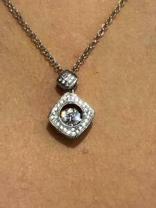 """Platinum Sterling Silver White Sapphire """"Dancing Diamond"""" Cushion Halo Necklace"""