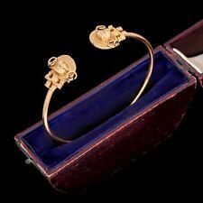 Antique Vintage Art Deco Yellow Gold Filled GF Figural Aztec Mayan Cuff Bracelet