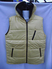 BNWT Mens Sz X Large XL Rivers Yellow Padded Lined Zip Vest With Hood RRP $50