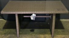 New Outdoor Dining Table Shelta PE Wicker Glass Top 145 x 85cm New in Box