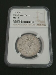 1925 50c Half Dollar Stone Mountain Silver Commemorative NGC MS 63 Nice Luster!