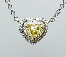 Yellow Diamond Pendant And Chain 0.83 ct Fancy Yellow Heart Canary 100% natural