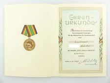 #e6756 Ehrenurkunde: Medaille für treue Dienste in Bronze von 1958 MfS Leutnant