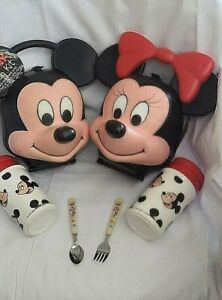 Mickey & Minnie Mouse Aladdin Lunch Kit Box Heads PreOwned Vintage Disney