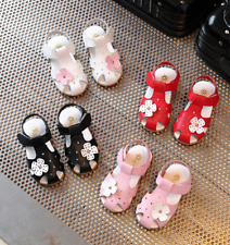 Toddlers Kids Baby Girls Summer Flat Heels Shoes Flower Sandals Child Soft Shoes