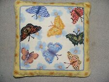 Needlepoint Pillow-Beautiful Butterfly Wool Cushion Cover Handwork