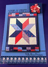 """""""Stars N Stripes"""" Quilt Pattern Card 56""""x70"""" Villa Rosa Designs 2012 New!"""