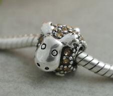 HANDMADE SILVER EUROPEAN Charm Bead for Bracelet H19 MOOSE DEER WINTER HOLIDAY