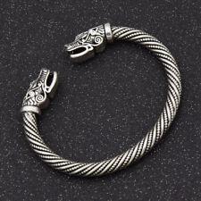 Vikings SILVER Wolf Pagan Cuff Arm Ring Pagan Bracelet FENRIR Ragnar Lothbrok