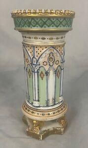 Antique French Sevres Style Old Paris Porcelain Gilt Spill Vase Eagle France