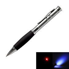 Premium Red Laser Pointer Presentation Ballpoint Pen + LED Light Flashlight NEW