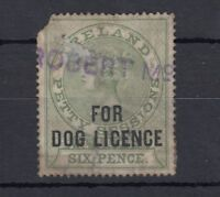 Ireland QV Revenue Dog Licence Stamp Used J1899