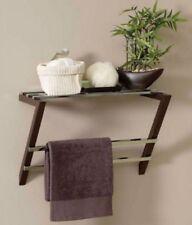 Wall Mounted Towel Rail Chrome Dark Wood Bathroom Metal Shelf Allibert
