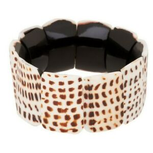 QVC Lee Sands Bracelet Shell Print White and Brown Stretch $57